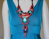 Red and Turquoise Tribal Statement Necklace / Long Red Statement Necklace / Red Coral Necklace / Big Bold Chunky Red Necklace