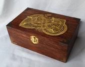 Celtic Dragon Woodburned box with Gold Fabric lining