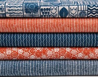 Fat quarters fabric bundle, fat quarters pack, retro style cotton fabric, retro fabric, blue, quilting fabric, sewing supplies, UK SHOP