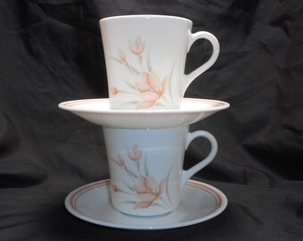Corning Corelle PEACH FLORAL Cups and Saucers, Set of 2