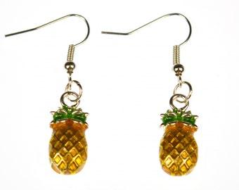 [BUNDLE] [OR035APR15MA] Pineapple Miniblings earrings exotic fruit-tropical enamelled