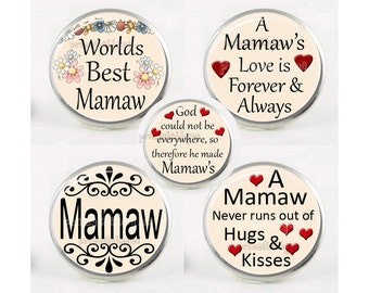 Snap Charms, MAMAW, Chunk Charm, Grandmother, Grandma, Interchangeable Jewelry, 18mm Charm, Snaps, Button Charm, Sayings, Quotes #1