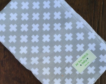 """Extra Large Flannel  Swaddle Receiving Blanket. 100% Cotton Flannel. - 40""""x40"""" Grey Plus Signs"""