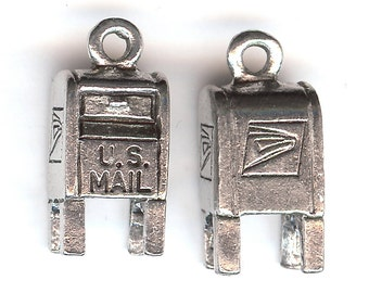 POST BOX Charm. Pewter. 3D. Mailbox. Postman. Mailman. U.S. Mail. Postage. Made in the USA.