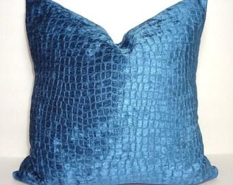 JB Martin Marine Blue Leopard Design Velvet Pillow Cover Decorative Pillow Cover Blue Velvet Pillow Cover Choose Size