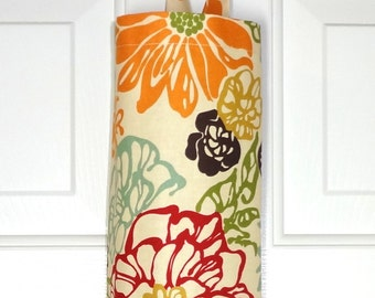 Plastic Bag Holder Grocery Bag Storage Kitchen Bag Storage Invigorate Floral Red Orange Green Blue Wine Bag Holder