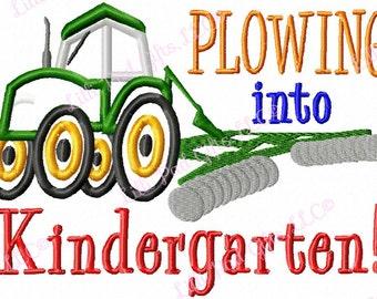 Plowing into Kindergarten - Tractor - Applique - Machine Embroidery Design -  4 sizes