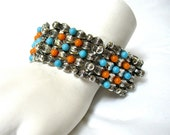 1970's Wide, Link Bracelet, Antiqued Silver, blue and orange beads, Excellent