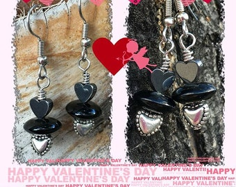 Hematite Heart Earrings Valentine Jewelry for Fans of 50 Shades of Grey