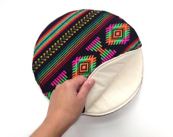 Tortilla Warmer - Tortillero - Tortilla Keeper -  Bread Keeper - Mexican Fabric Cozy - Black Aztec Housewares and Decor - Fiesta Taco Party