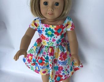18 inch Doll Dress, Flowered Off Shoulder Dress, Off Shoulder Party Dress