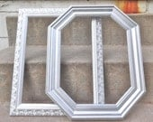 Large Picture Frame Mid Century Octagon Metallic Silver Glam Wedding Photo Gallery Wall Wood Prop Nursery Decor