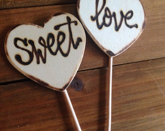 Sweet love cupcake toppers • hand lettering • calligraphy • wedding • engagement • anniversary • dessert station • photo props • sweets
