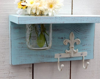 Rustic wood shelf with fleur di lis, distressed shabby chic, aqua, cottage  home decor, es, wood shelves