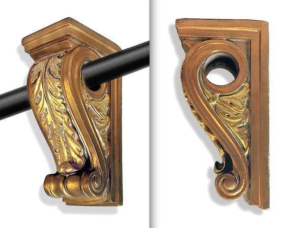 Decorative Curtain Rod Holders 2 Corbel Brackets And