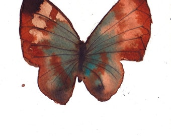 rust brown and turquoise butterfly original watercolour painting