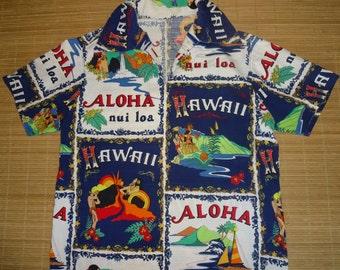 Mens Vintage 70s Hawaii Lava Hula Hawaiian Shirt - L - The Hana Shirt Co