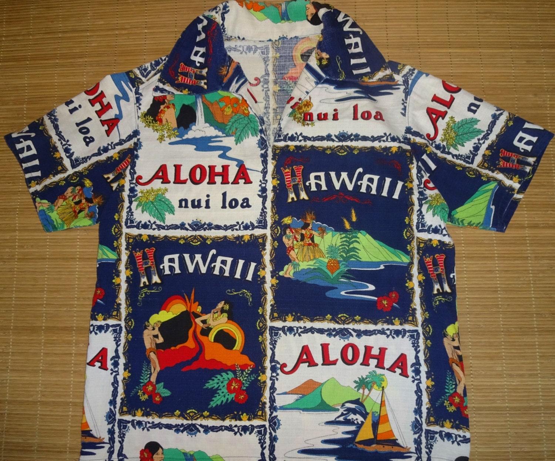 Mens vintage 70s hawaii lava hula hawaiian shirt l the for The hawaiian shirt company