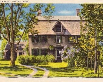Concord, Massachusetts, The Old Manse - Linen Postcard - Unused (AAA)