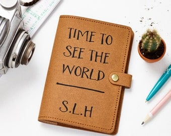 Recycled Leather Passport Cover - Time to see the world