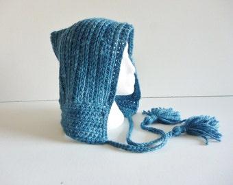 Pixie hood with tassels - indigo dyed baby alpaca - elf hood - faerie - festival wear