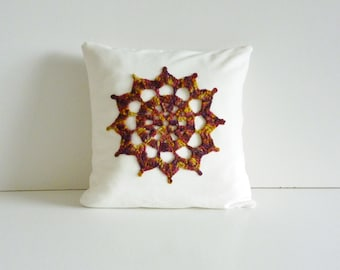 Crochet motif cushion - compass design - white cotton with gorgeous autumn coloured motif