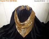 Valentine SALE Whiting & Davis , Demi Parure , Mesh Mates , Bib Necklace and Earrings , Gold Toned in Box
