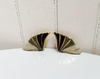 Vintage 1970s/1980s Black, Grey & Gold Wave Earrings