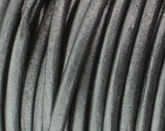 Gray Leather, 5 Yard Section, 1.5mm Grey Leather Cord, Indian Leather Cord, 1.5mm Metallic Grey Cord, Leather Wrap Bracelet, Gray Leather