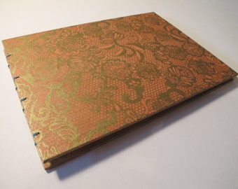 Blush and Gold Romantic Guest Book: Papaya and Metallic Gold Lace Wedding Guestbook