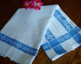 Striped Kitchen Towel White and Blue Cotton Dish Towel Vintage Huck Towels
