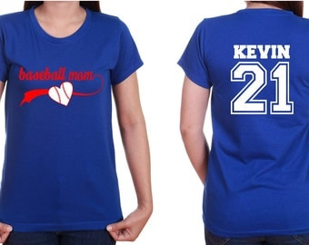 Baseball Mom shirt Mom Jersey with Personalized Back design.