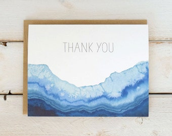 Geode Thank You Cards, Agate Thank You Card Set, Watercolor Cards, Watercolor Thank You Notes, Geode Cards, Thank You Notecards