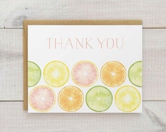 Watercolor Citrus Thank You Card Set, Watercolor Thank You Notes, Tropical Thank You Cards, Summery Thank You Cards, Set of 10