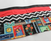 Classroom Apron- Time for School (red & black)