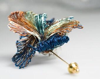 Blue art jewelry Blue Butterfly brooch Blue brooch pin Butterfly jewelry Insect jewelry Insect brooch Wearable art jewelry Wire butterflies.