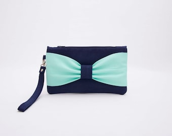 PROMOTIONAL SALE -Navy mint bow wristelt clutch,bridesmaid gift ,wedding gift ,cosmetic bag,camera bag,zipper pouch,