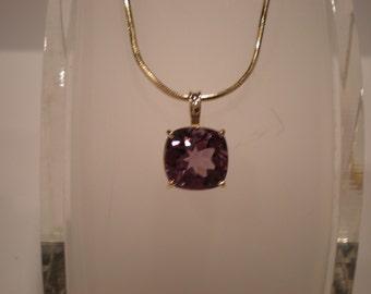 Rich royal purple 10mm Amethyst cushion-cut gemstone pendant in 14K yellow gold