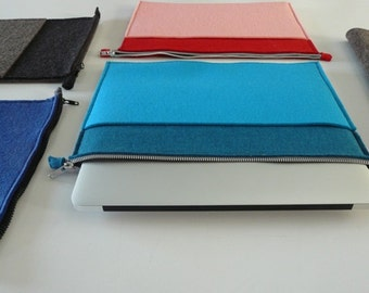 """MacBook Air 13"""" Sleeve wool case in navy blue at the back, vivid sky blue and teal blue at the front"""