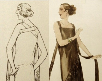 1920s wedding dress sewing pattern. Crossover back strap with asymmetrical fringe skirt.