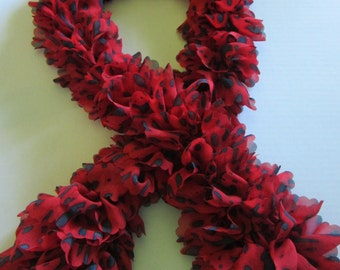 Red and Black Knitted Neck Scarf