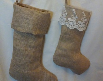 Lace Top Smaller Burlap Stocking for Baby, Child  or Pet - Fully Lined