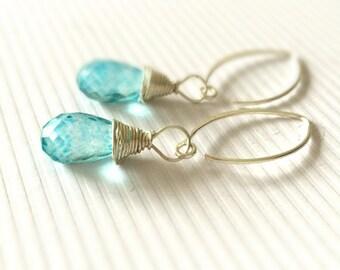 Blue Earrings - Quartz Gemstone Jewelry - Sterling Silver Jewellery - Luxe - Chic
