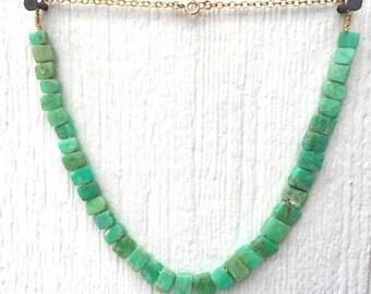 Chrysoprase Necklace - Green Gemstone Jewellery - Gold Chain Jewelry - Beaded - Mint