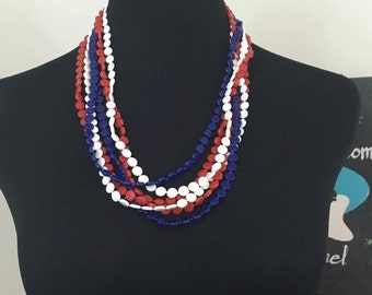 At The Polls // 1960s Plastic Red White and Blue Super Long Necklace