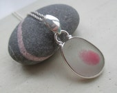 Pink End OF Day Sea Glass Sterling Silver Necklace