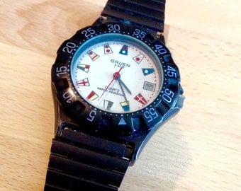 Gruen nautical divers sports watch mens vintage watch  wrist watch rare
