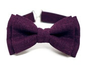 Plum Linen Bow Tie for Boys, Toddlers, Baby - pre tied bowtie, wedding, ring bearer, photo prop