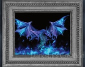 Mystical Magic Blue Fire Dragon - Medieval Fantasy Art Print
