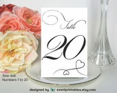 1 to 20 Printable Table Numbers, Wedding Table Cards, Wedding Table Numbers, Wedding Signs, Instant Digital Download by Event Printables